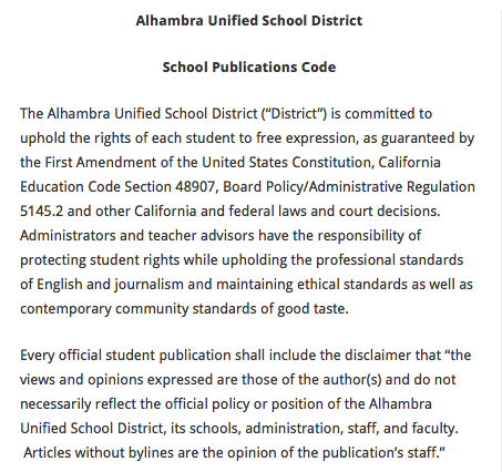 Alhambra Unified School District School Publications Code