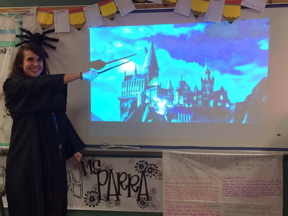 Classified as Hufflepuff but Gryffindor at heart, Parra expresses her love of Harry Potter in the classroom