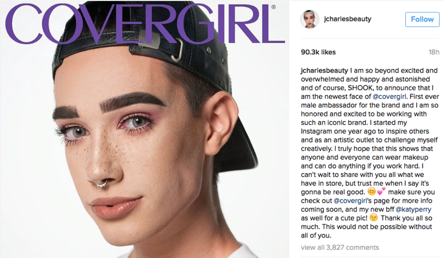 Charles changes CoverGirl's history, stereotypical expectations
