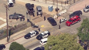 Law enforcement search for an escapee in San Gabriel on Ramona St. and Mission Rd. on April 11. Photo courtesy of ABC7