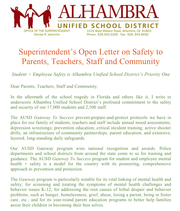 Superintendent's Open Letter on Safety