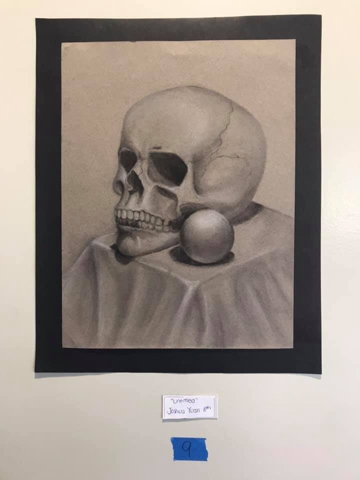 "For Junior Joshua Yuan, his artwork, ""Untitled,"" depicts a still life drawing of a skull."