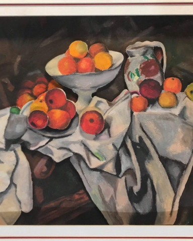 "Senior Tim Xu's ""Oil Pastel Drawing of Fruits"" was inspired by the original artwork of French artist Paul Cézanne."